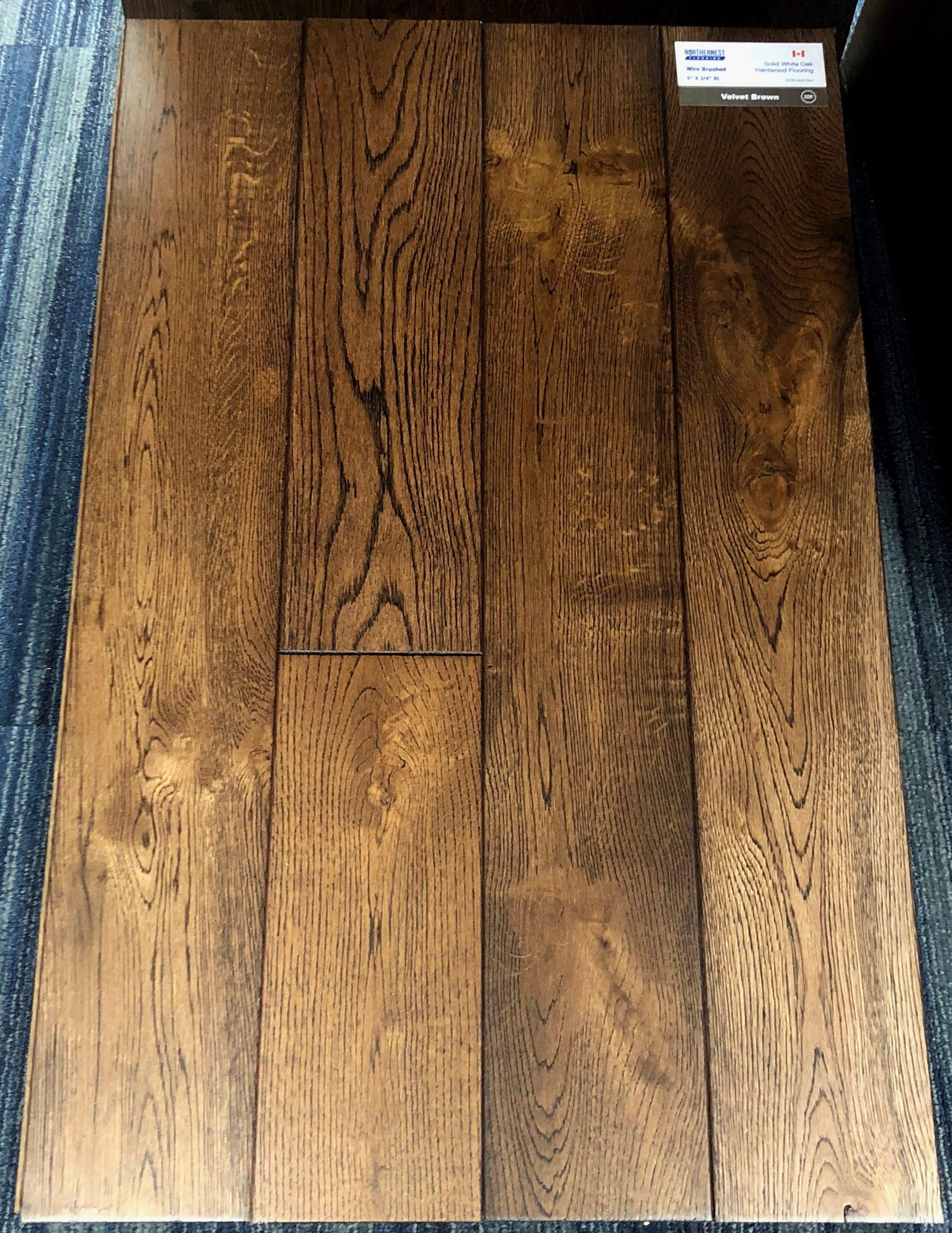 Velvet Brown Northernest White Oak Wirebrushed Hardwood Flooring Image