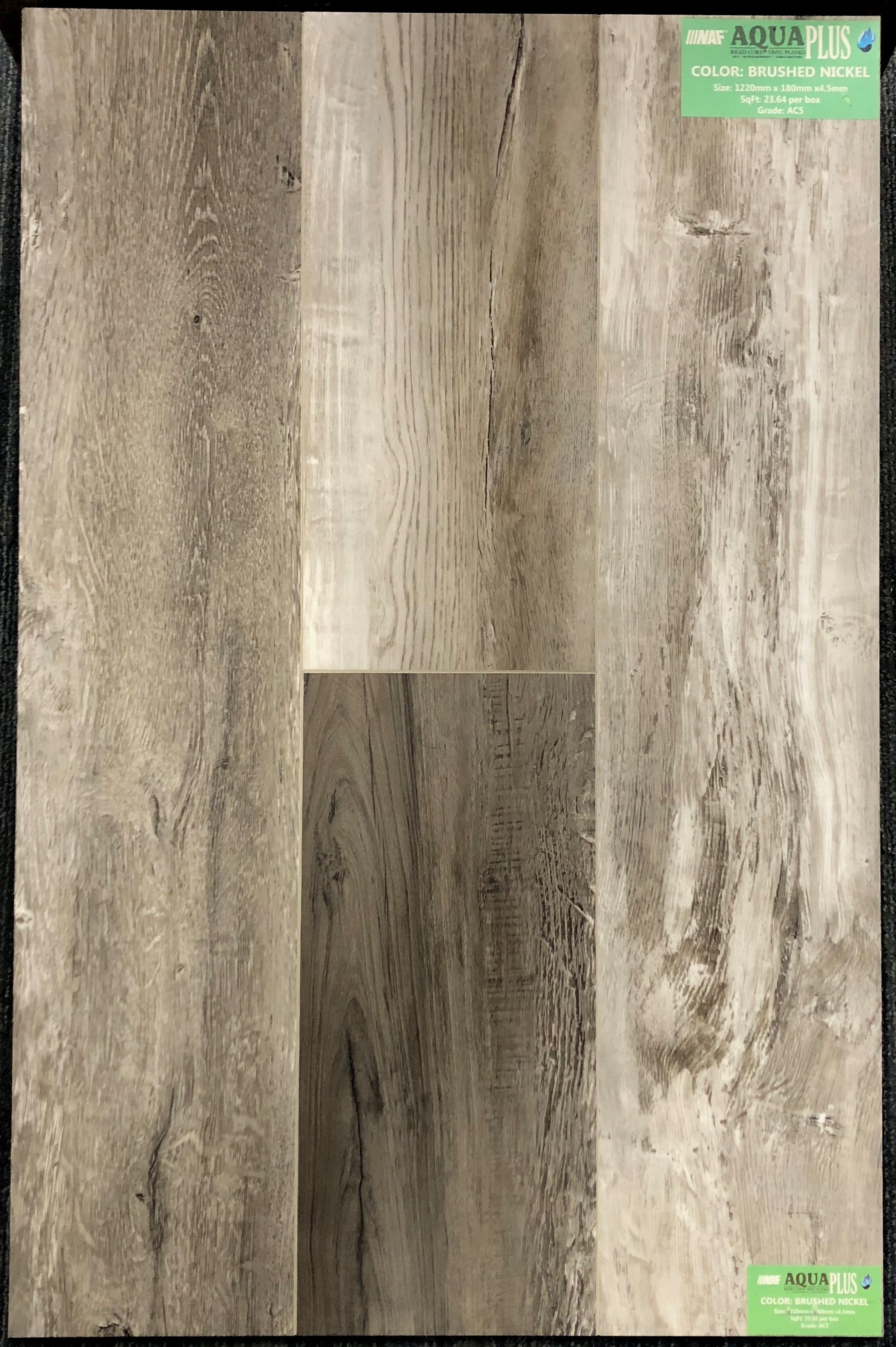 Brushed Nickel NAF Aquafloor 4.5MM Vinyl Flooring Rigid Core - Drop Clic - 0.3mm Wear Layer Image
