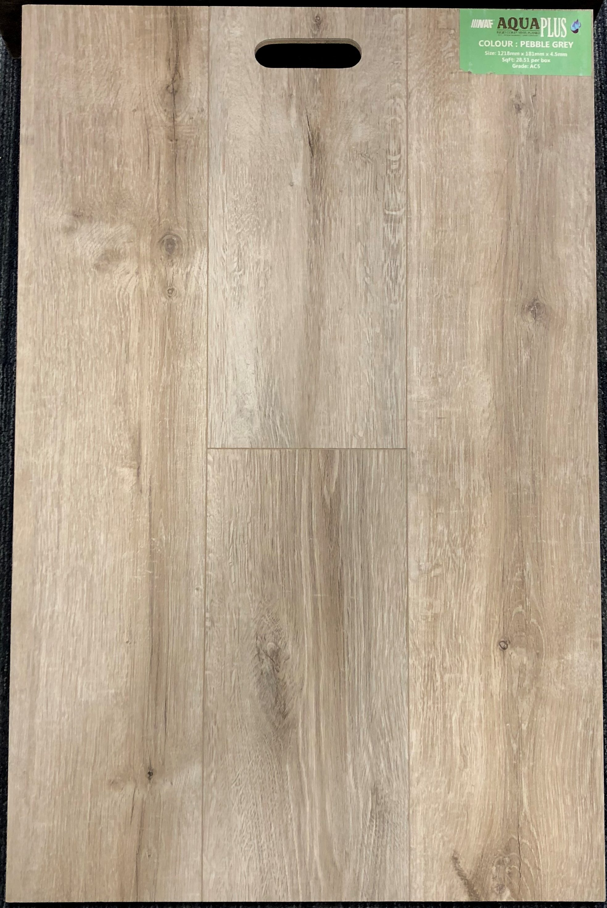 Pebble Grey NAF Aquaplus 4.5mm Vinyl Flooring Rigid Core - Drop Clic - 0.3mm Wear Layer Image