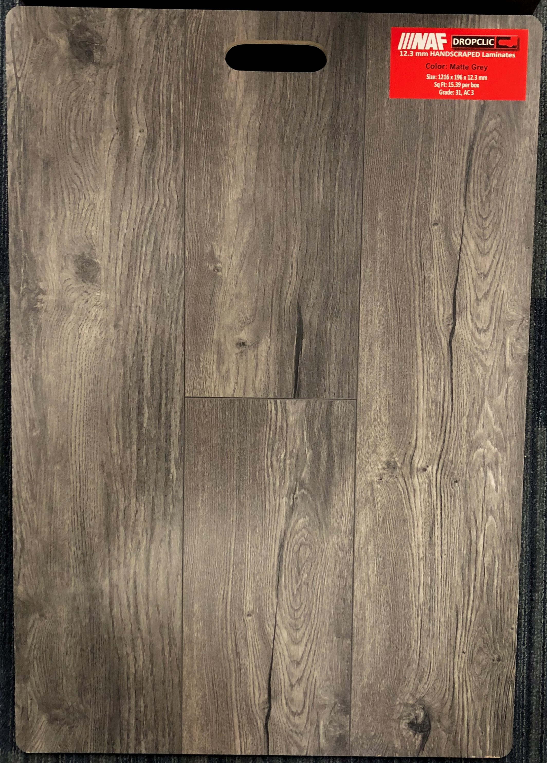 Matte Grey NAF 12.3mm Handscraped Laminate Flooring Dropclic Image