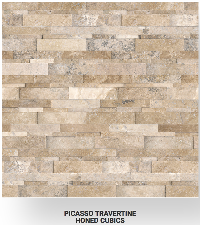 6x24 Picasso Travertine Honed Cubics Ledgerstone 73-361 Image