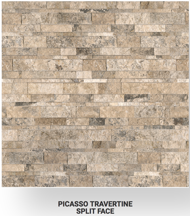 6x24 Picasso Travertine Split Face Ledgerstone 73-358 Image