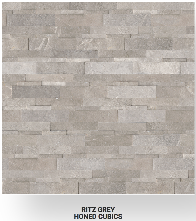 6x24 Ritz Gray Marble Honed Cubics Ledgerstone 72-614 Image