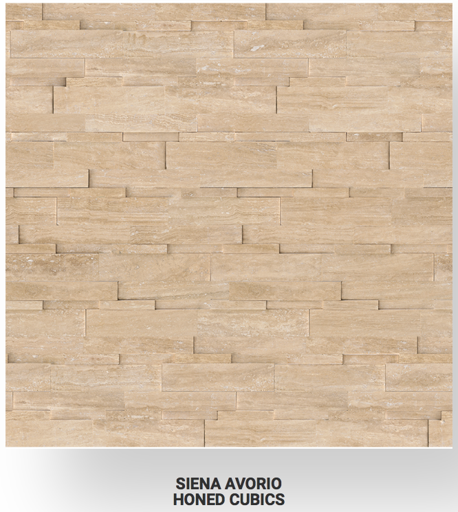 6x24 Siena Avorio Veincut Travertine Honed Cubics Ledgerstone 73-360 Image