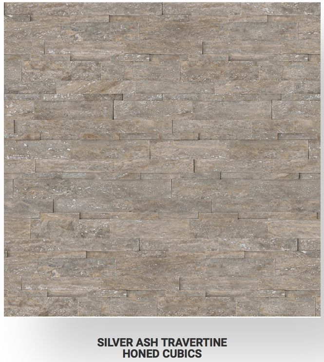 6x24 Silver Ash Veincut Travertine Honed Cubics Ledgerstone 73-362 Image