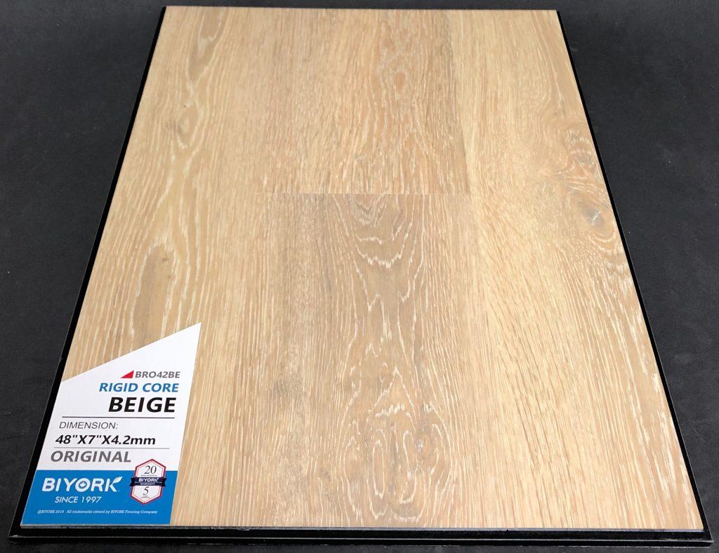 Beige Biyork 4.2mm SPC Vinyl Flooring Rigid Core