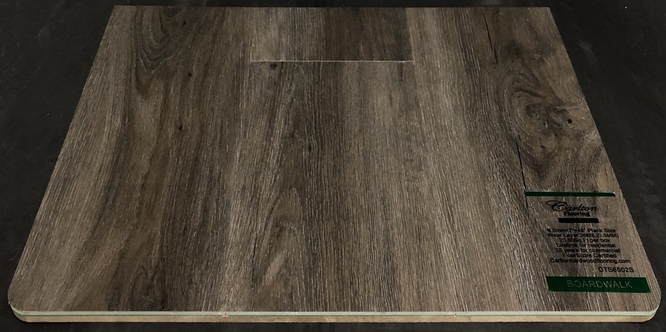 "Carlton Flooring - Prime Collection Product: Boardwalk Dimensions: 6.5mm x 7"" x 48"" (0.5mm Wear Layer) Underpad: Attached Warranty: Lifetime Residential - 25 Years Commercial FloorScore Certified Code: CTS6502S"