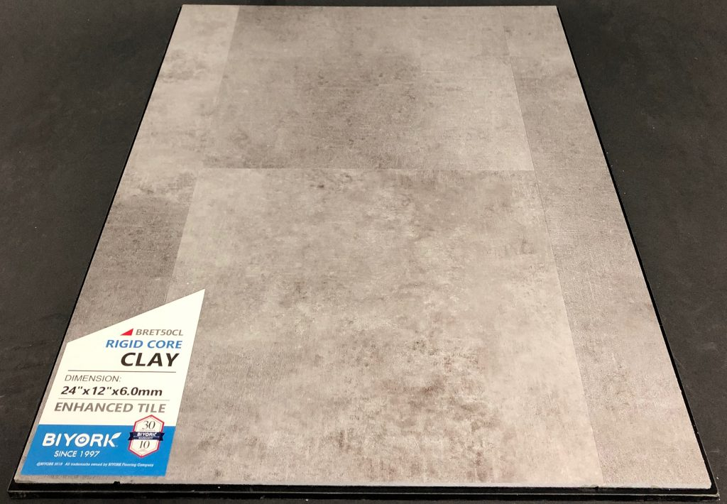 Clay Biyork 6mm SPC Vinyl Tile Flooring Rigid Core - Enhanced Tile