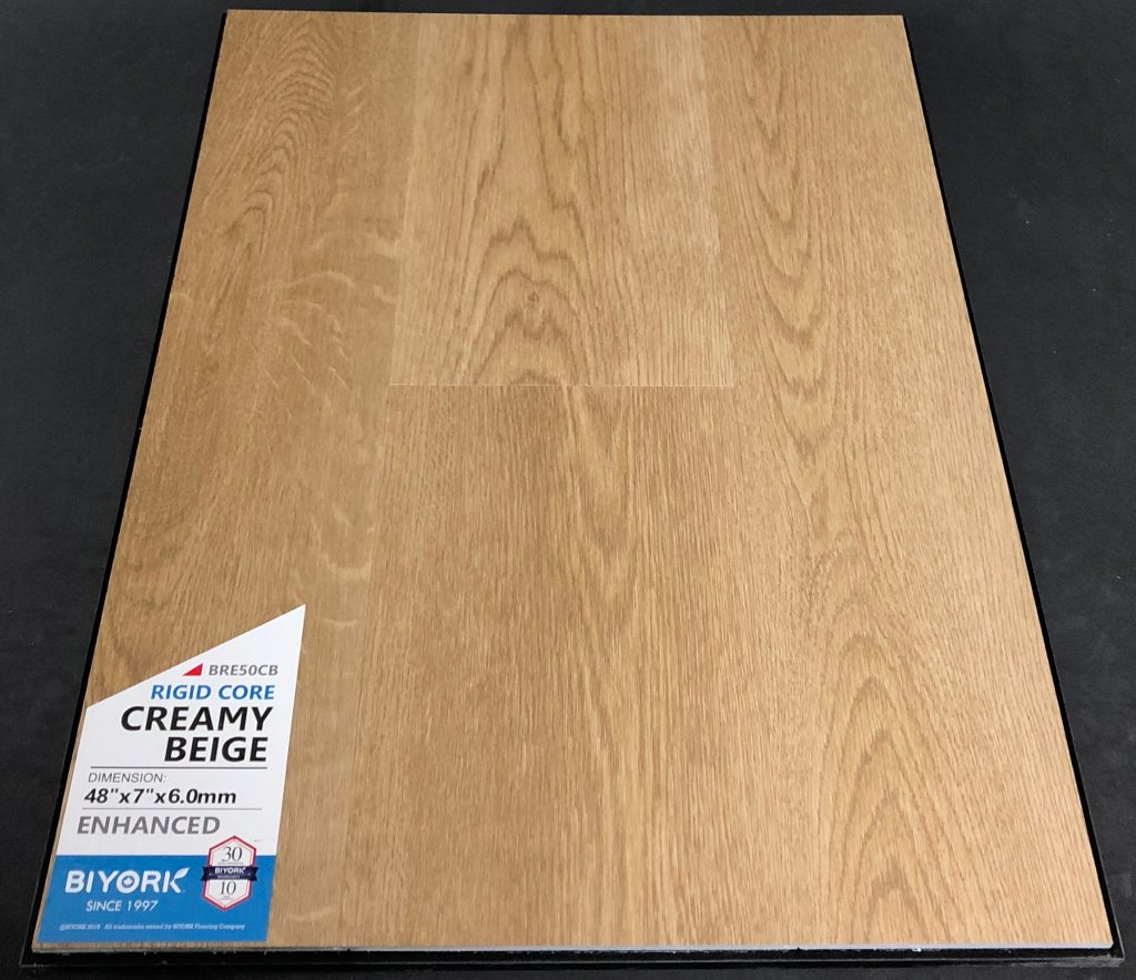 Creamy Beige Biyork 6mm SPC Vinyl Plank Flooring Rigid Core - Enhanced