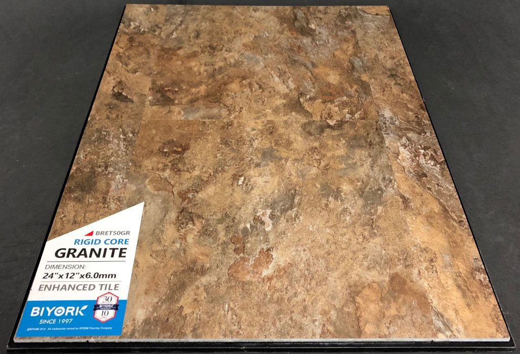 Granite Biyork 6mm SPC Vinyl Tile Flooring Rigid Core - Enhanced Tile