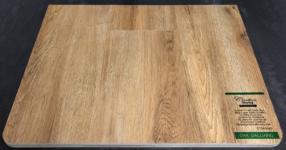 "Carlton Flooring - Prime Collection Product: Oak Galliano Dimensions: 6.5mm x 7"" x 48"" (0.5mm Wear Layer) Warranty: Lifetime Residential - 25 Years Commercial FloorScore Certified Code: CTS6504S"