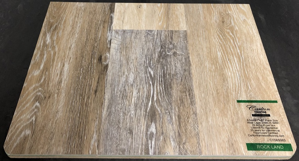 "Carlton Flooring - Prime Collection Product: Rock Land Dimensions: 6.5mm x 7"" x 48"" (0.5mm Wear Layer) Underpad: Attached Warranty: Lifetime Residential - 25 Years Commercial FloorScore Certified Code: CTS6506S"