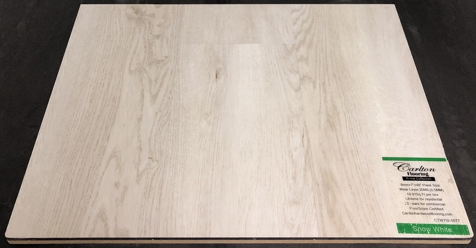 "Carlton Flooring - Prime Collection Product: Snow White Dimensions: 8mm x 7"" x 48"" (0.5mm Wear Layer) Underpad: Cork Attached Warranty: Lifetime Residential - 25 Years Commercial FloorScore Certified"