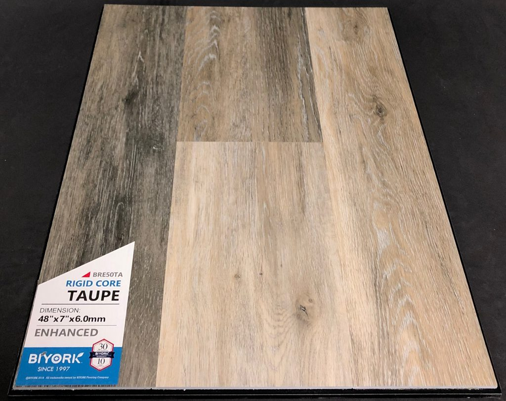 Taupe Biyork 6mm SPC Vinyl Plank Flooring Rigid Core - Enhanced