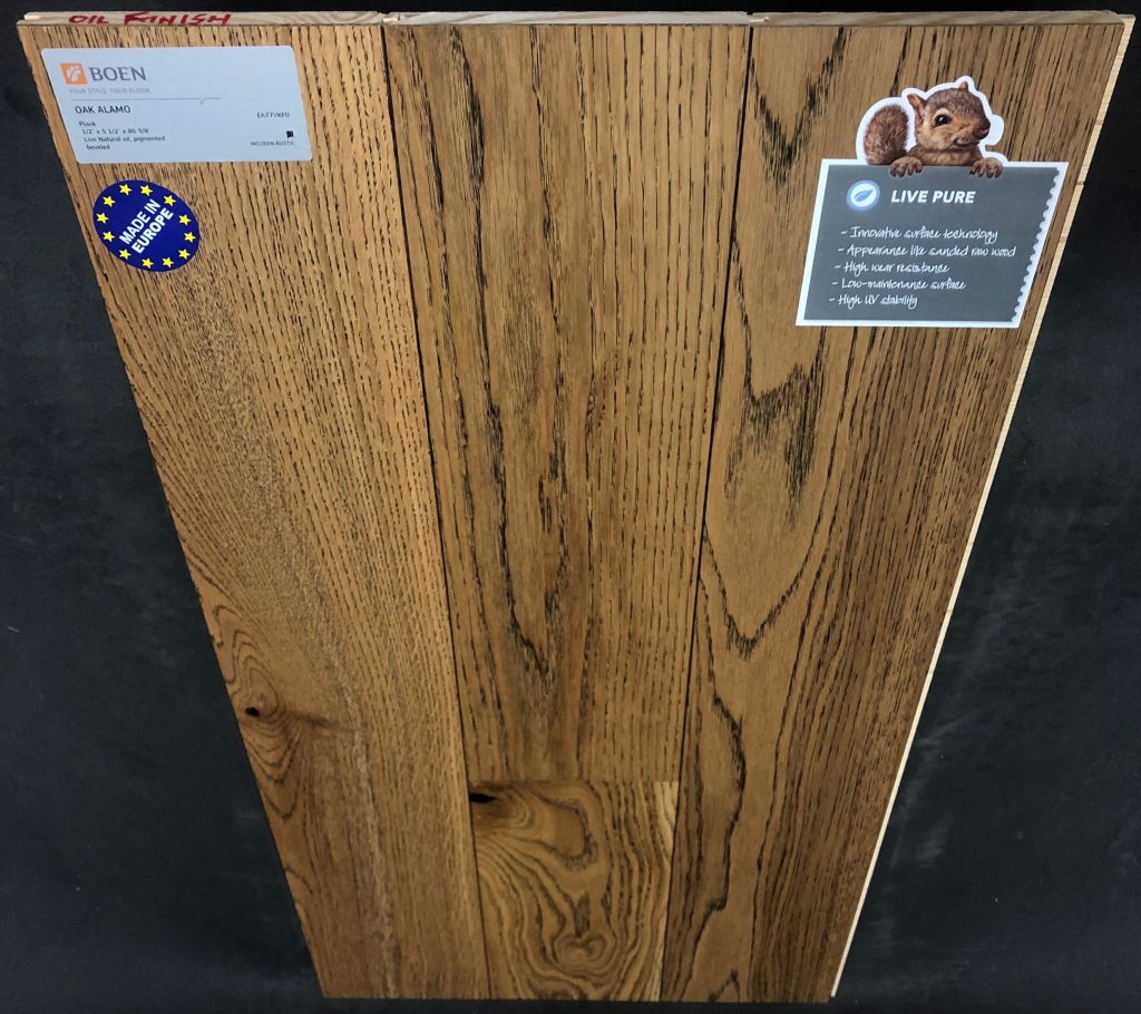 "Alamo Boen Oak Engineered Hardwood Flooring Size: 5 7/16"" x 1/2"" - 7' Plank Length Wear Layer: 2mm Veneer Install: Tongue and Groove Collection: Live Pure Sq Ft / Box: 32.95"