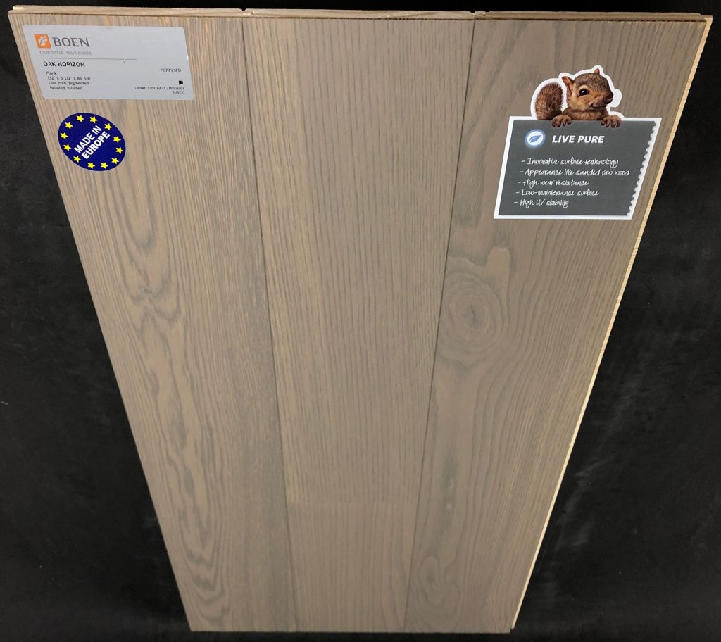 "Horizon Boen Oak Engineered Hardwood Flooring Size: 5 7/16"" x 1/2"" - 7' Plank Length Wear Layer: 2mm Veneer Install: Tongue and Groove Collection: Live Pure Sq Ft / Box: 32.95"