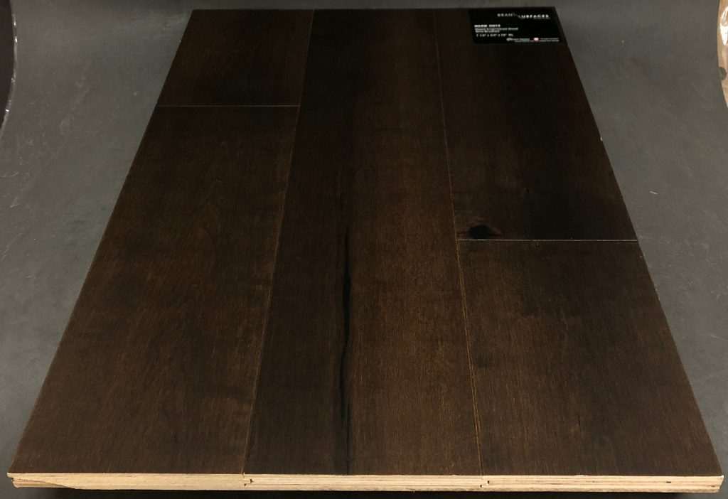"Warm Onyx Brand Surfaces Maple Engineered Hardwood Flooring Size: 7 1/2"" x 3/4"" - 2mm Veneer Finish: Handscraped & Reclaimed - Mineral Streaks and Knots Install: Tongue and groove Warranty: 25 Years"
