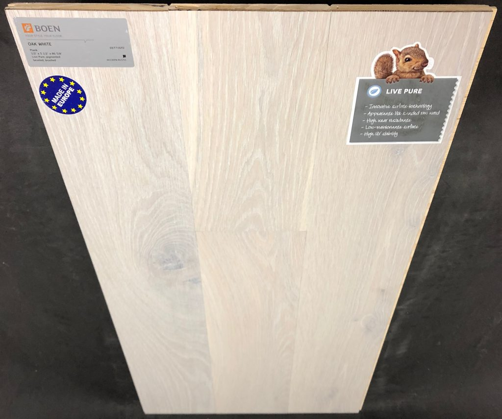 "White Boen Oak Engineered Hardwood Flooring Size: 5 7/16"" x 1/2"" - 7' Plank Length Wear Layer: 2mm Veneer Install: Tongue and Groove Collection: Live Pure Sq Ft / Box: 32.95"
