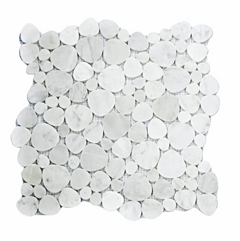 51STM032 Carrara White Flat Pebble Polished Marble Mosaics Image