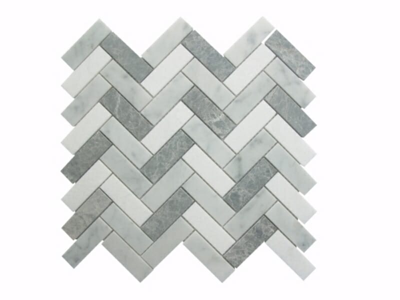 55STM020 Carrara and Crystal White with Antique Marble Herringbone Mosaics Image