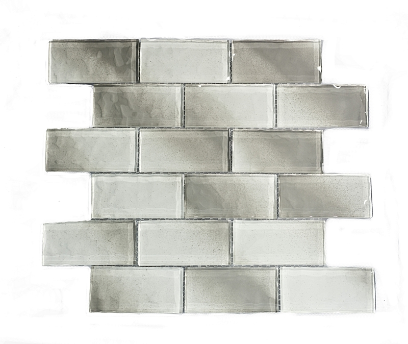 EVA012 Super White and Gray Wavy Glass Mosaics Image