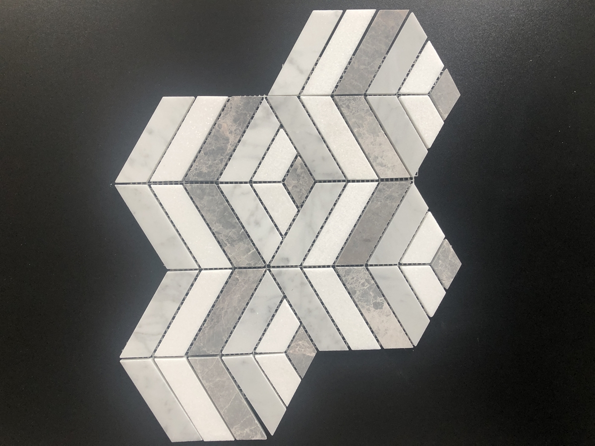 M01 Carrara White Crystal White and Antique Cuboids Marble Mosaics Image