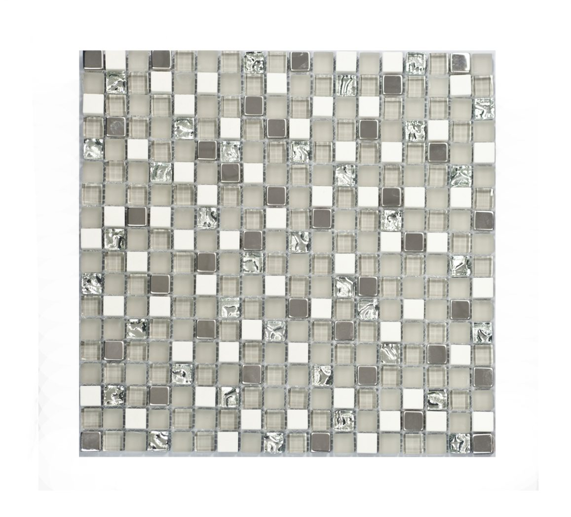 MBL028 Grau Silver with White Marble and Stainless Steel Mosaics Image