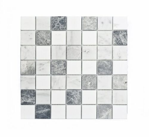 11STM020 Carrara and Crystal White with Antique 2x2 Honed Marble Mosaics 1