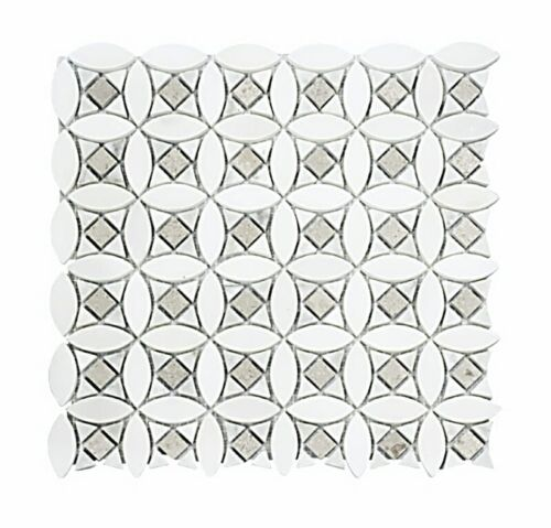 20STM002 Pure White Cararra White and Oriental Gray Marble Mosaics 1 1