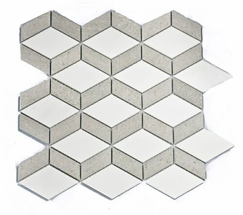 24STM060 Ariston White and Cindrella Gray English Harlequin Marble Mosaics 1