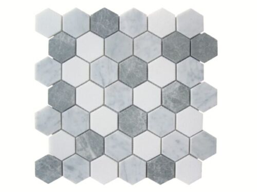 42STM020 Carrara and Crystal White with Antique Marble Hexagon Mosaics 1 1 1