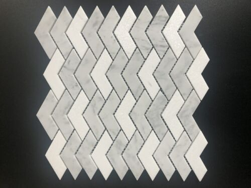 92STM032 Honed Packed Chevrons In Dolomite and Carrara Mix Marble Mosaics 1