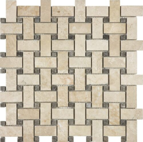 ALLURE CREMA BASKETWEAVE MARBLE MOSAICS POLISHED 76 360 HONED 76 364