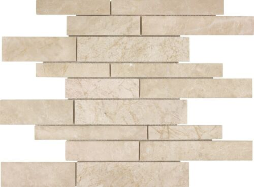 ALLURE CREMA RANDOM STRIP MARBLE MOSAICS POLISHED 76 361 HONED 76 365