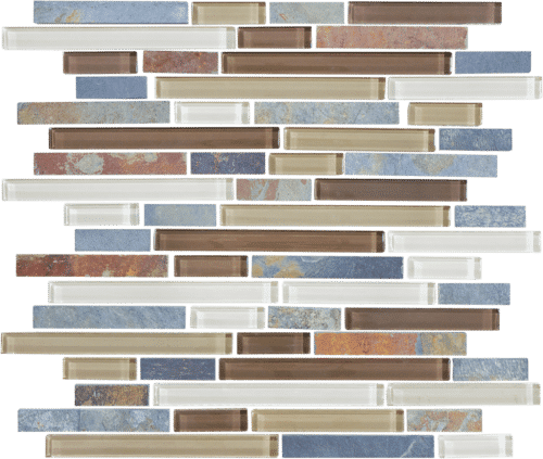 AMBER TEA 35 023 BLISS GLASS AND SLATE LINEAR BLEND MOSAICS