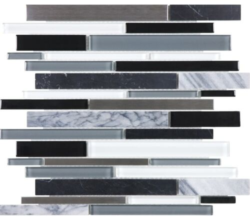 ARTIC NIGHT 35 049 BLISS GLASS STONE STAINLESS LINEAR BLEND MOSAICS