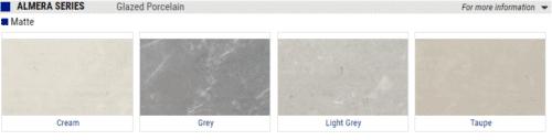 Almera Matte Glazed Porcelain Tile Cream Grey Light Grey Taupe 1