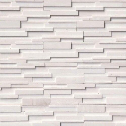 Arctic White 3D Honed Stacked Stone Panels Ledgerstone 6X24 1