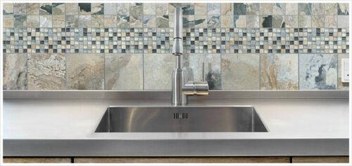 Bliss Glass Slate Quartz Blend Mosaics Backsplash Tile Anatolia Tile Squarefoot Flooring 1