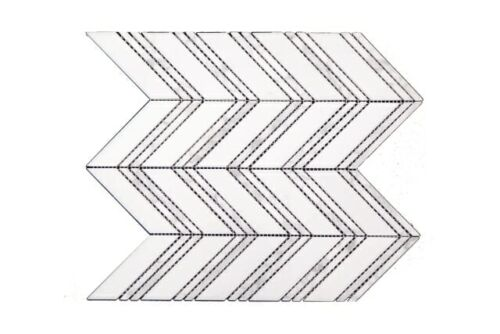 CH01 White with Double Band Chevron Marble Mosaics 1