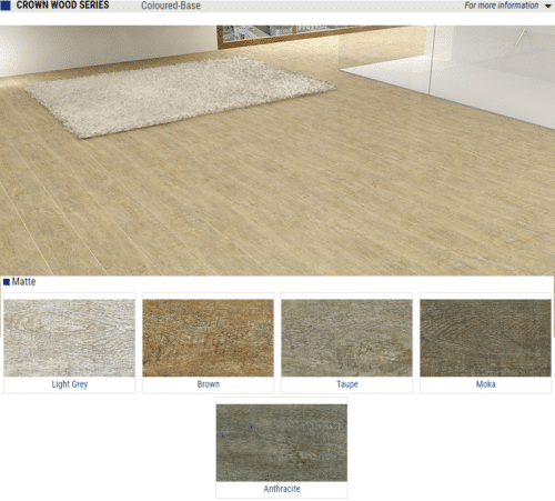 Crown Wood Series Matte Wood Look Porcelain Tiles Color Light Grey Brown Taupe Moka Anthracite Size 6x35 1 1
